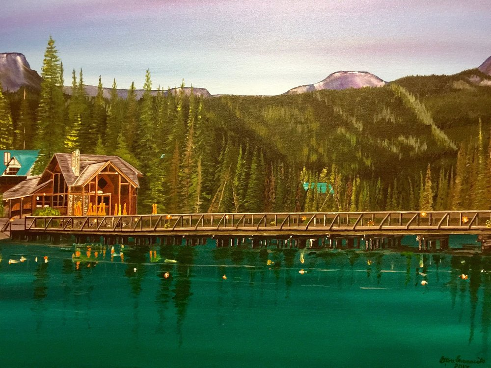 "Emerald Lake,  Ettore Iannacito, 36"" x 24"", $900 (free shipping, free returns, no additional fees!)"