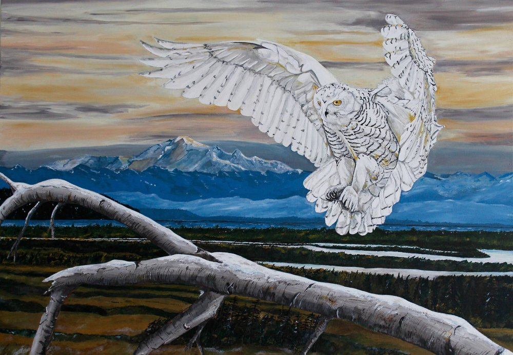 "Snowy Owl , Ettore Iannacito, 48"" x 36"", $1500 (free shipping, free returns, no additional fees!)"