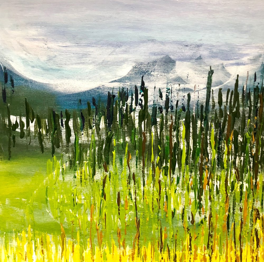 "Mountain Meadow,  Andrea Wojnicki, 12"" x 12"", $350, (free shipping, free returns, no additional fees!)"
