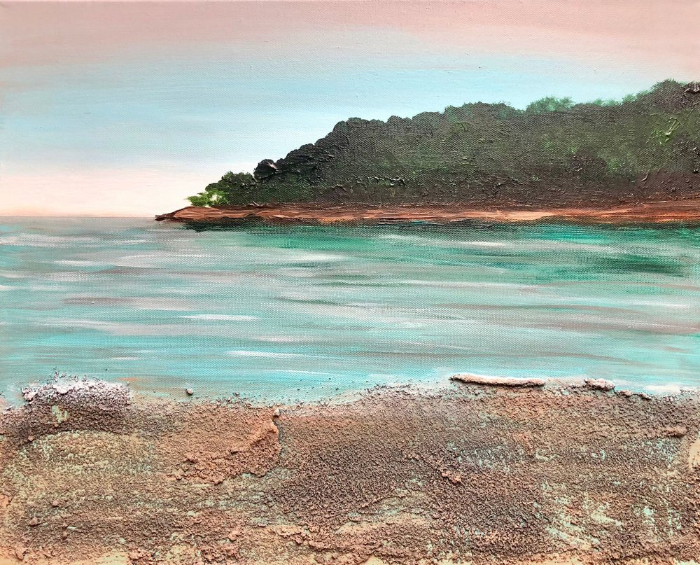 "Sand, Water, Trees, Sky , Andrea Wojnicki, 20"" x 16"", $900, (free shipping, free returns, no additional fees!)"