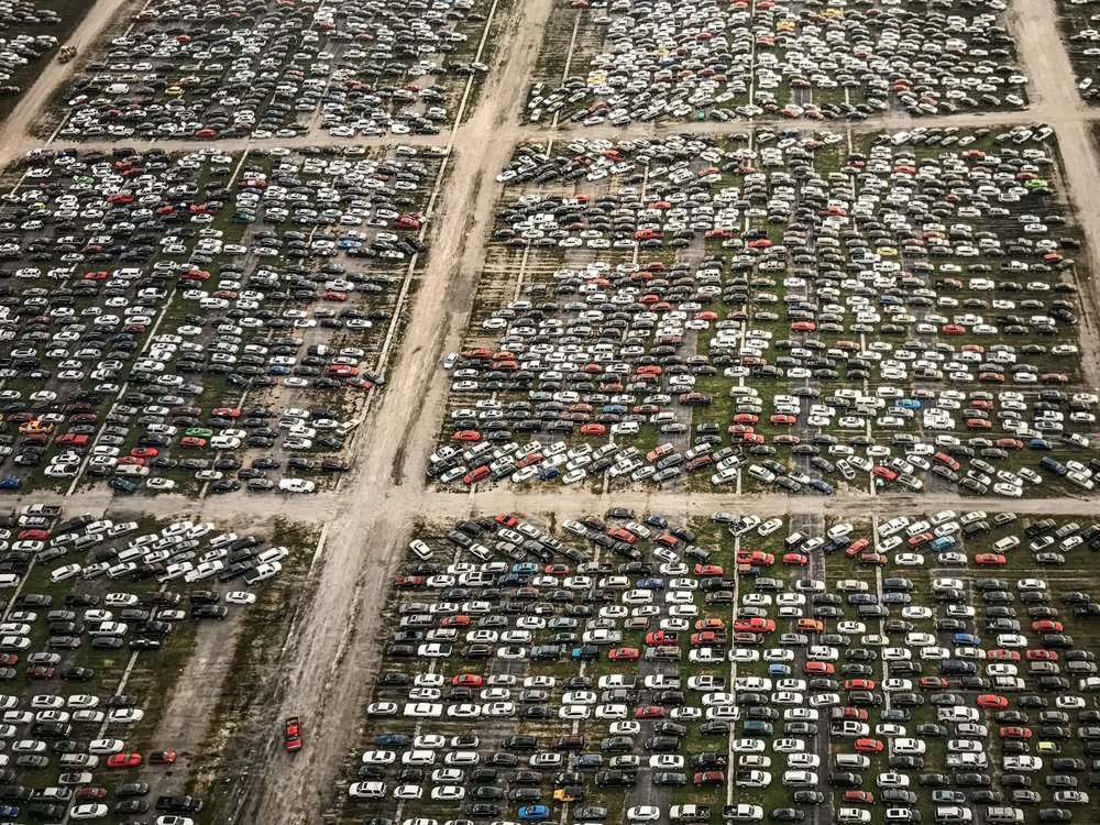 Flood Damaged Cars, Royal Purple Raceway, Baytown, Texas, USA, 2017 | Edward Burtynsky