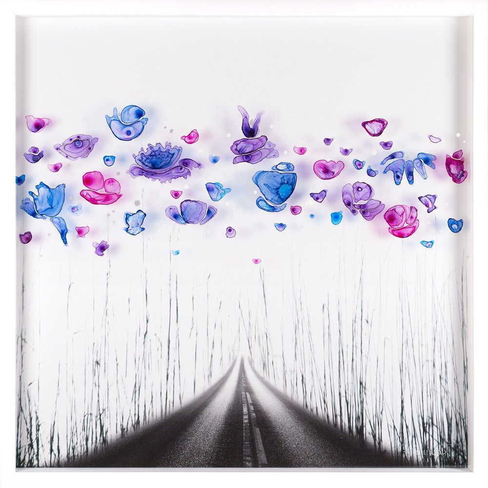 """The Road Less Travelled , Roz Hermant, 31.5"""" x 31.5"""", $1,800 CAD (Free shipping, free returns, no additional costs. That' peace-of-mind art buying!)"""