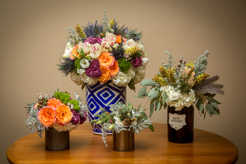 Cut flower arrangements range in sizes and have a variety of prices. Pictured here are the $65, $85, $150, and $200 arrangements.