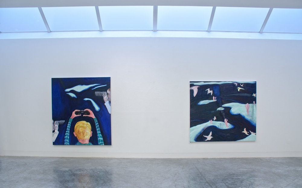 Installation image:   (Left)  Sundogs , 72 x 60 in. Oil on canvas, (Right)  Fallout , 62 x 70 in. Oil on canvas
