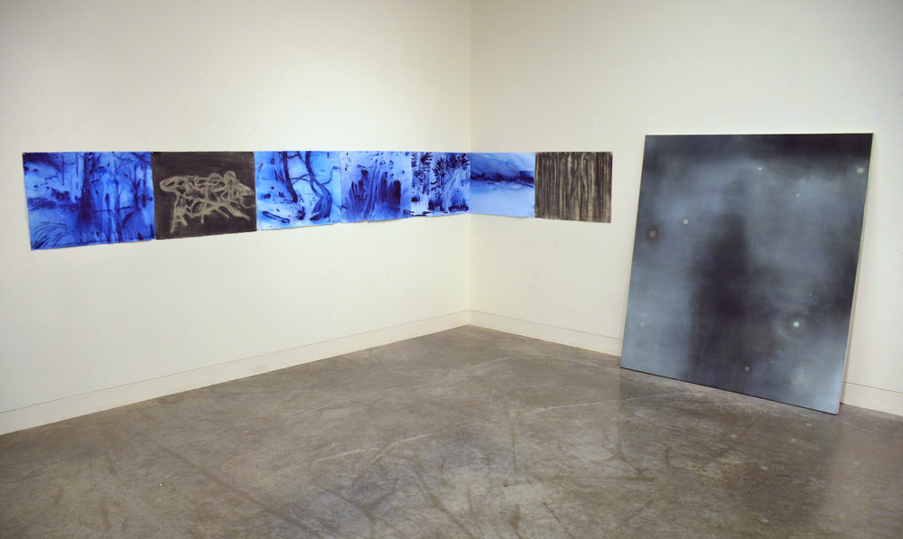 Installation image: University of Victoria  (Left)  Wakeful Dream Sequence,  Ink & charcoal on paper, 22 x 210 in. (Right)  Bodies , Oil on canvas, 76 x 64 in.