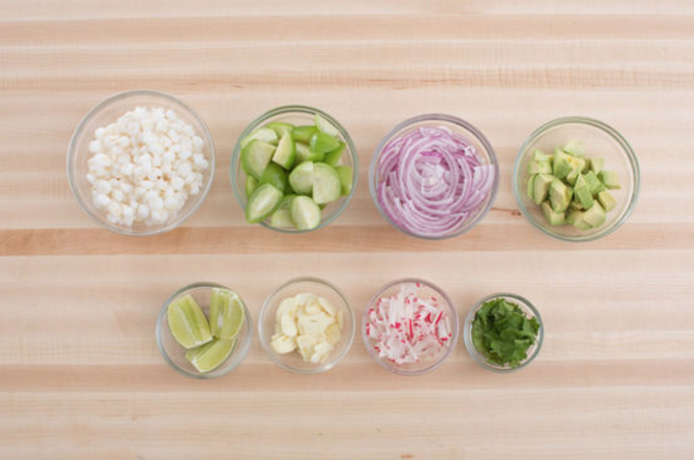 BLUE APRON'S PORK AND TOMATILLO POZOLE WITH HOMINY, AVOCADO AND RADISHES