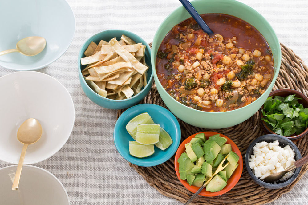 SWIRL KITCHEN: BLUE APRON'S PORK AND TOMATILLO POZOLE WITH HOMINY, AVOCADO AND RADISHES