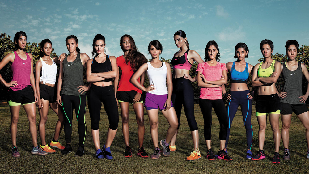The featured athletes L to R: Joshna Chinappa, Shweta Hakke, Rani Rampal, Gabriella Demetriades, Ishita Malaviya, Jaie Bhadane, Deepika Padukone, Naina Mansukhani, Swetha Subbiah, Jyoti Ann Burrett and Tanvie Hans.