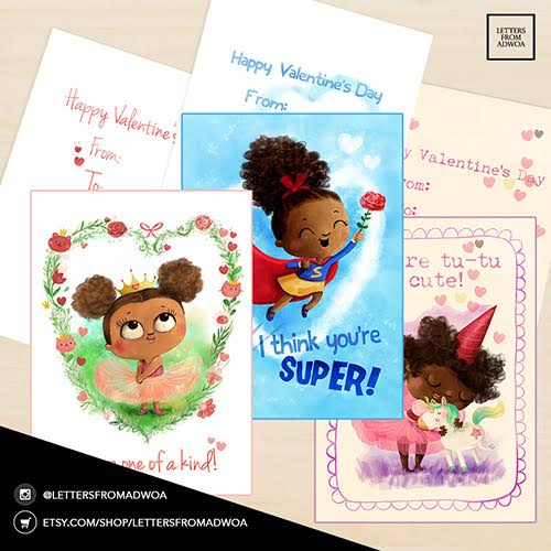 LETTERS FROM ADWOA, VALENTINE'S CARDS FEATURING BEAUTIFUL BROWN GIRLS via Swirl Nation Blog