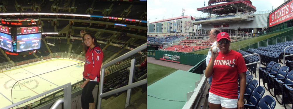 Left: Me in my Alexander Ovechkin jersey at a Washington Capitals game; Right: Me after catching a ball from a pitcher during batting practice at a Washington Nationals game.