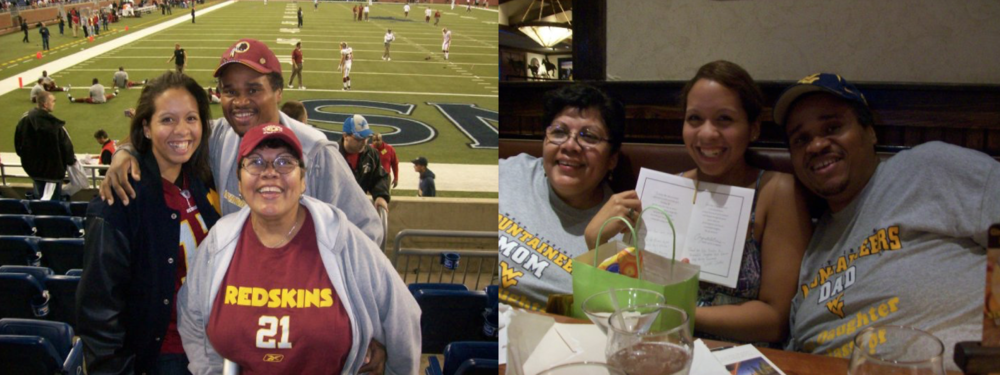 Left: My parents and I at a Washington Redskins v. Detroit Lions football game in Detroit, Michigan; Right: My parents and I at dinner the day I graduated from college at West Virginia University.