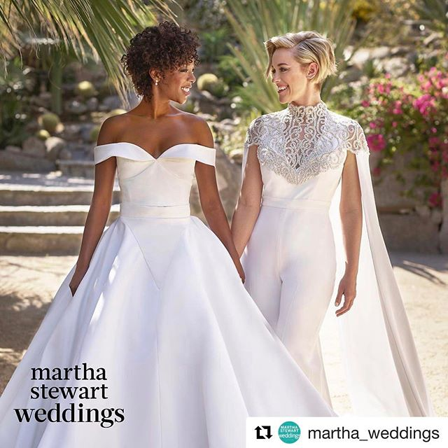 👰🏾❤👰🏼 #Repost @martha_weddings with @repostapp ・・・ Major congrats are in order for @OITNB's @whododatlikedat + @lomorelli! 😍 We're sharing the first exclusive pic from their stunning Palm Springs wedding - and how amazing do these two look in custom @csiriano?! Check out our Stories to get all the wedding details! #marthaweddings 📷: @josevilla | 📋: @bethhelmstetter