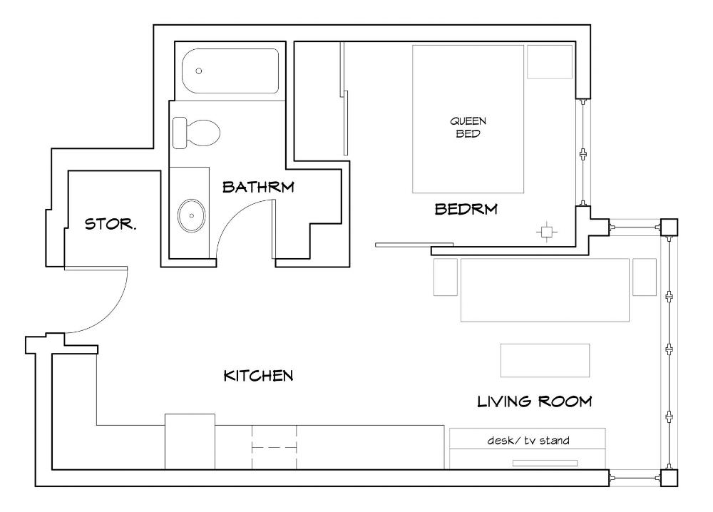 Cozy & Bright Midcentury Modern Tiny Apartment. @MeldrumDesign