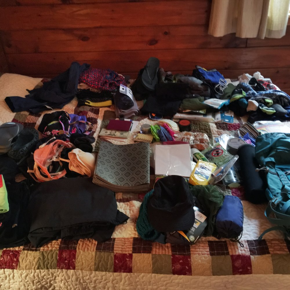 Our packing list laid out on the bed. Time to play some luggage Tetris!