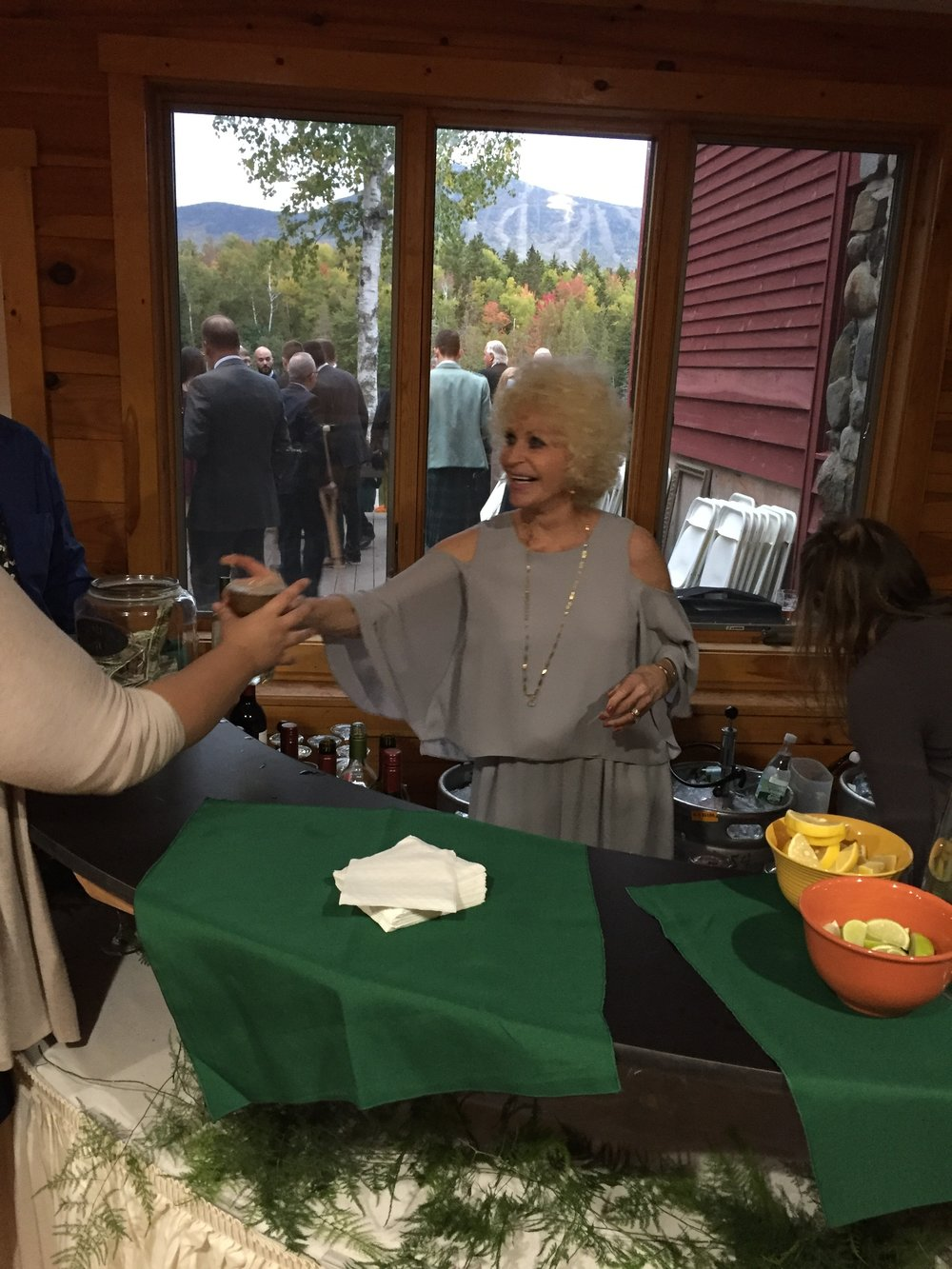 Gran helping an overworked bartender.
