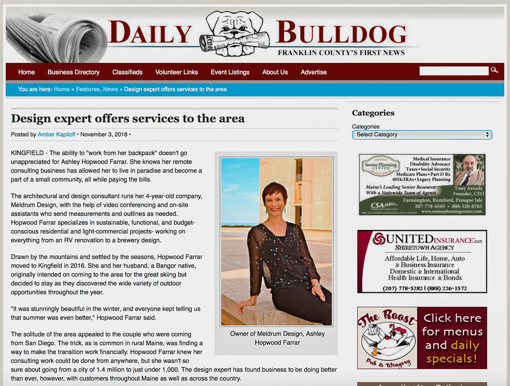 Daily Bulldog  feature - Design expert offers services to the area