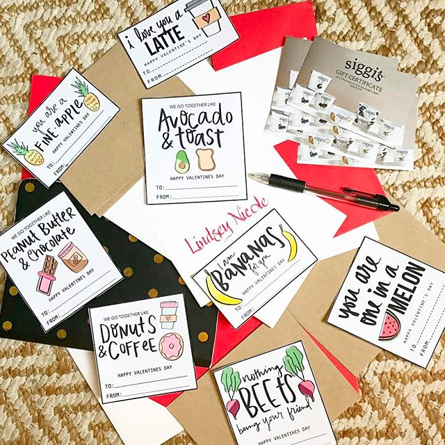 Show the special #foodie in your life just how much you l#ove them with these adorable Valentine 's Day ❤️cards by @eat_healthydesigns 🍋🥑🍓🍐🍉🍌🥕🍇🍊🍎🍍 ...I'm pairing mine with a few @siggisdairy coupons 😉 | #valentines2017 #foodielove #foodlovers #vday #fortheloveoffood #foodpuns #biteforchange
