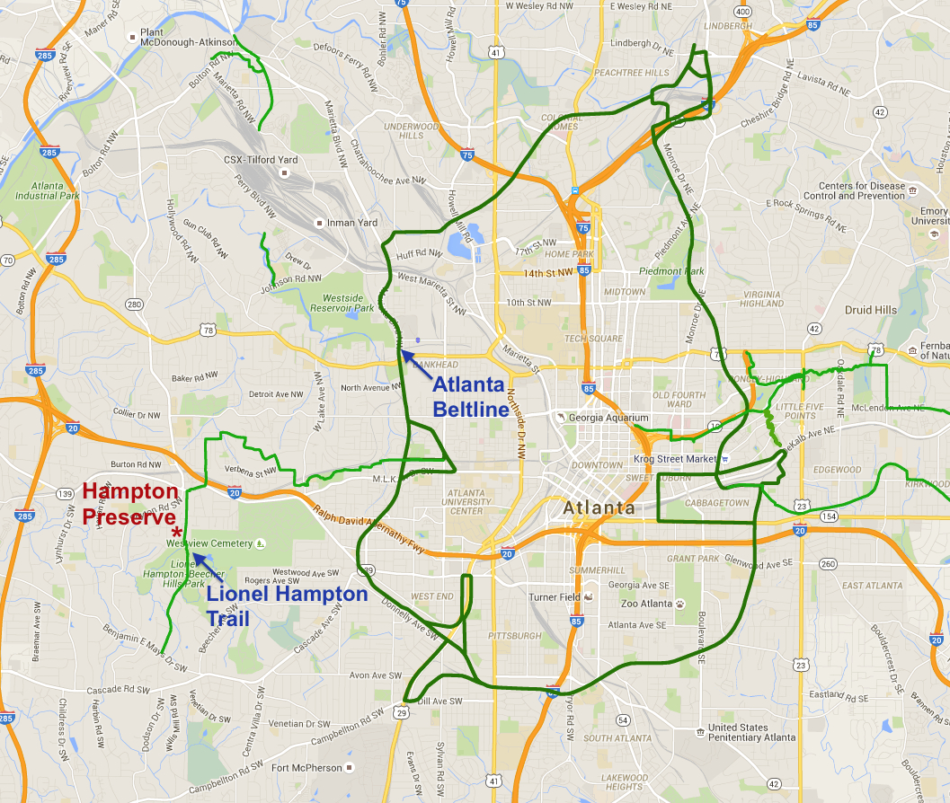 The Beltline Atlanta Map.Atlanta Beltline Hampton Preserve
