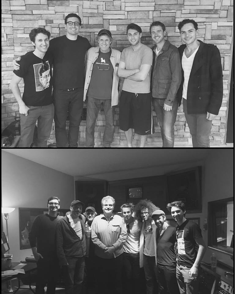 Top photo: Taken at Moon People Studios, Northridge. Bottom photo: Composer Oliver Schnee, singer Johnny Hawthorne, Music Producer Joel Sill, Engineer Bill Schnee, Drummer Rob Humphreys, Bassist Andrew Perusi, Keyboardist Alex Burke. and Alex Sill. Taken at Stagg Street Studios, Van Nuys.