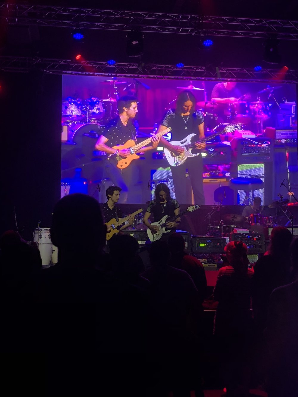 Alex on stage with Steve Vai- September, 2018