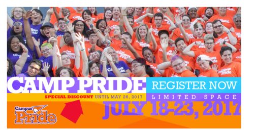 Campus Pride 2017 Announces the Camp Pride Summer Leadership Academy Team & Staff  - Campus Pride's 11th annual Summer Leadership Academy Camp Pride will take place from July 18-23, 2017 in Charlotte, NC. The leadership academy is the premier national training for social justice and grassroots activism for LGBTQ and ally young adults at colleges and universities.