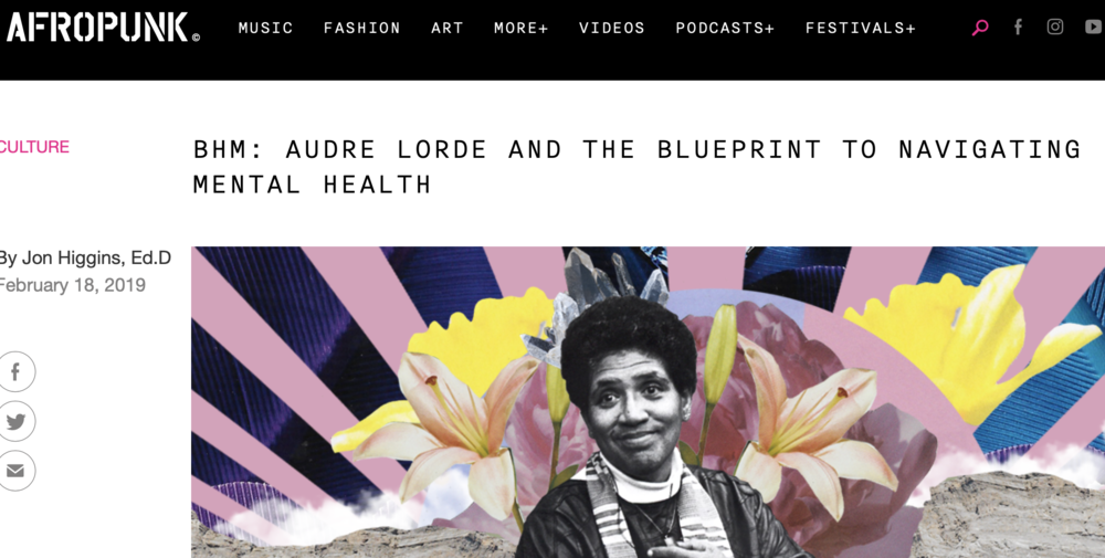 AFROPUNK | Audre LordE AND THE BLUEPRINT TO NAVIGATING MENTAL HEALTH  - As someone who has been very open about their own mental health struggles and how difficult it is to find a therapist who practices from an intersectional lense, it has been comforting to know that the work Audre Lorde left behind can be used as an aid in navigating mental health.