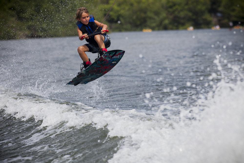 Kai Gaytan wakeboarding on the Wailua River in Kauai, Hawaii on June 11, 2013. Photo by Paul Myers