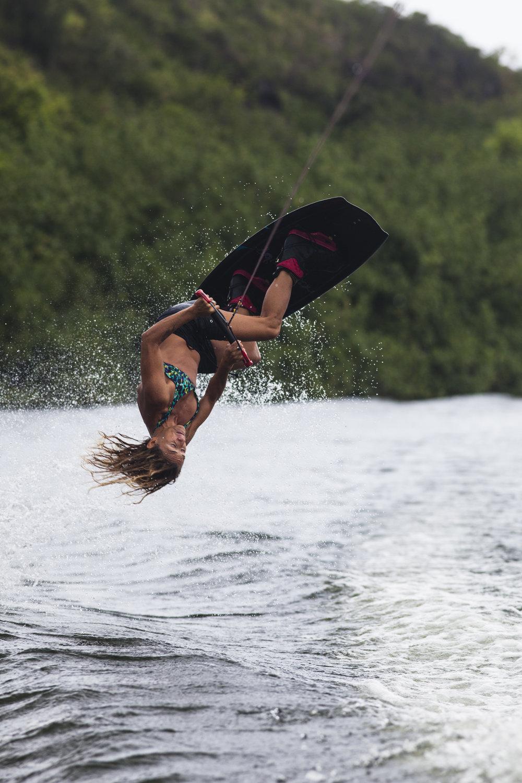 Andrea Gaytan wakeboarding on the Wailua River in Kauai, Hawaii on June 11, 2013. Photo by Paul Myers