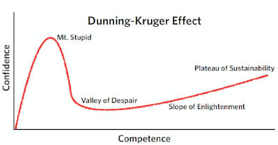 Drawn by the author and adapted from original Dunning-Kruger article, Psychology Today, and several other online depictions of D-K.
