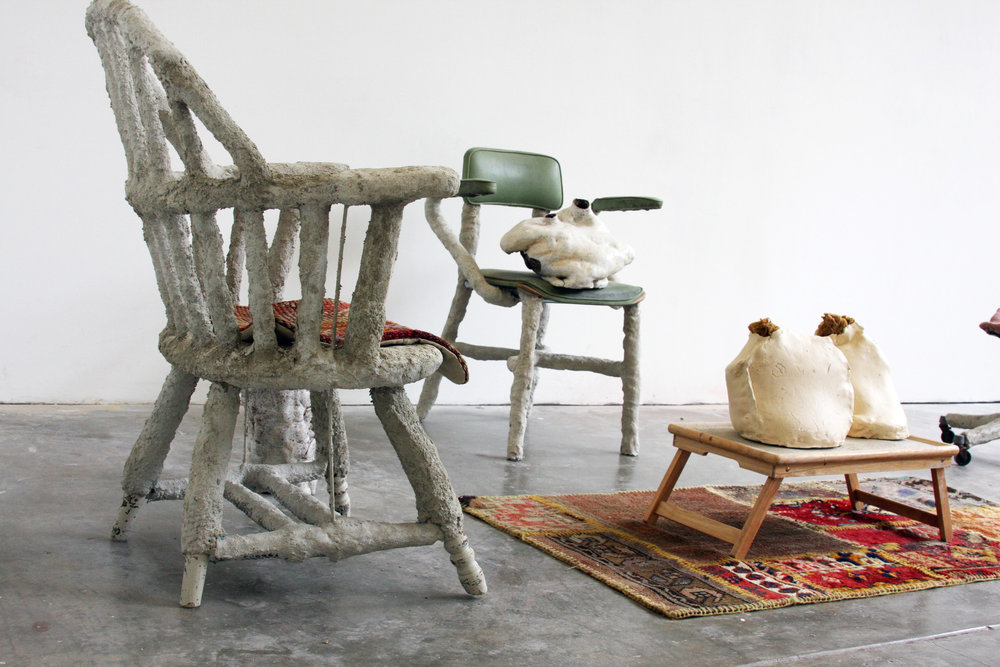 modified furniture, mortar cement, stoneware, textiles, sea sponge