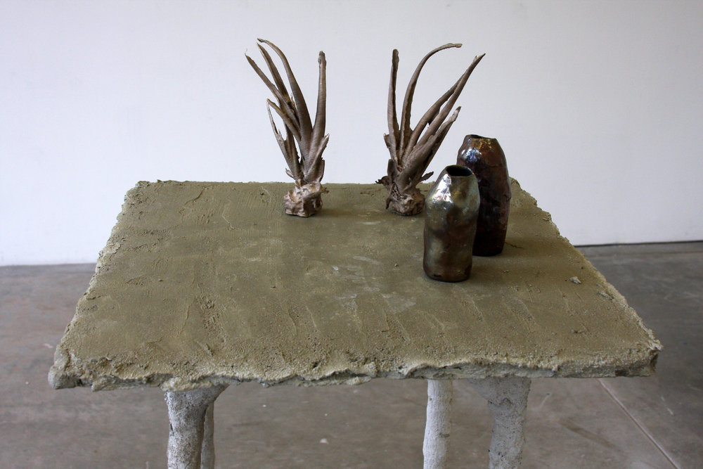 mortar table,  bronze aloe vera (cast from PLA prints), raku bottles