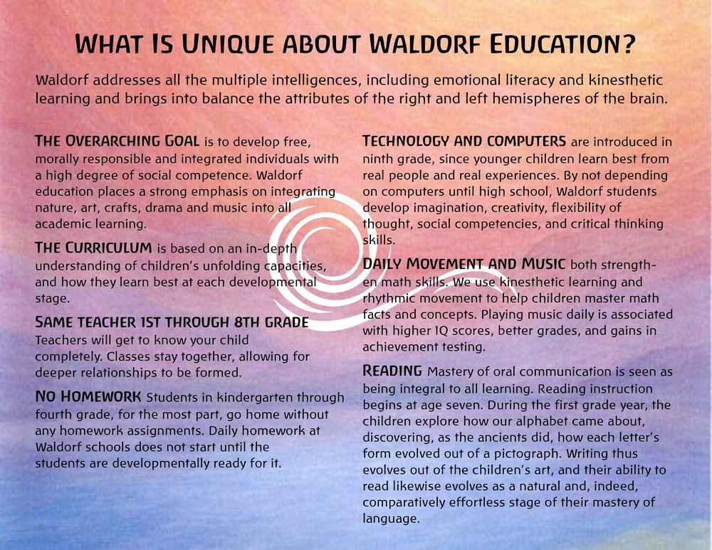 Read about what makes Waldorf unique.