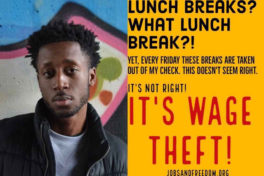 Lunch breaks?What lunch breaks?Yet, every friday these breaks are taken out of my paycheck. This doesn't seem right. It's not right! It's wage theft!