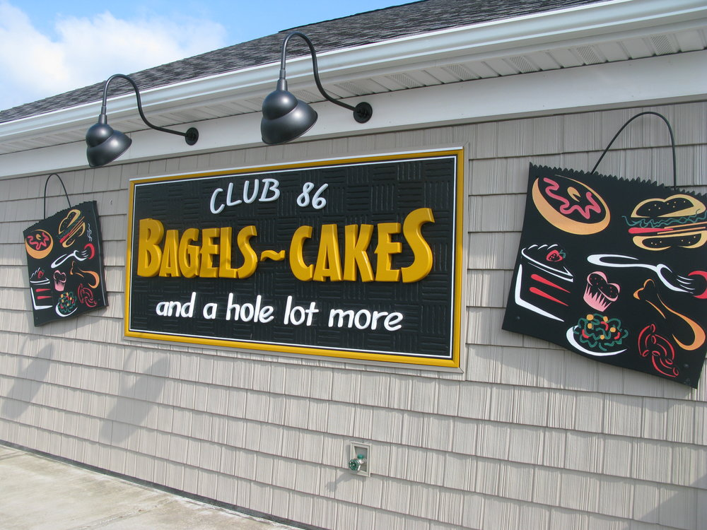 Bagels and Cakes building and sign