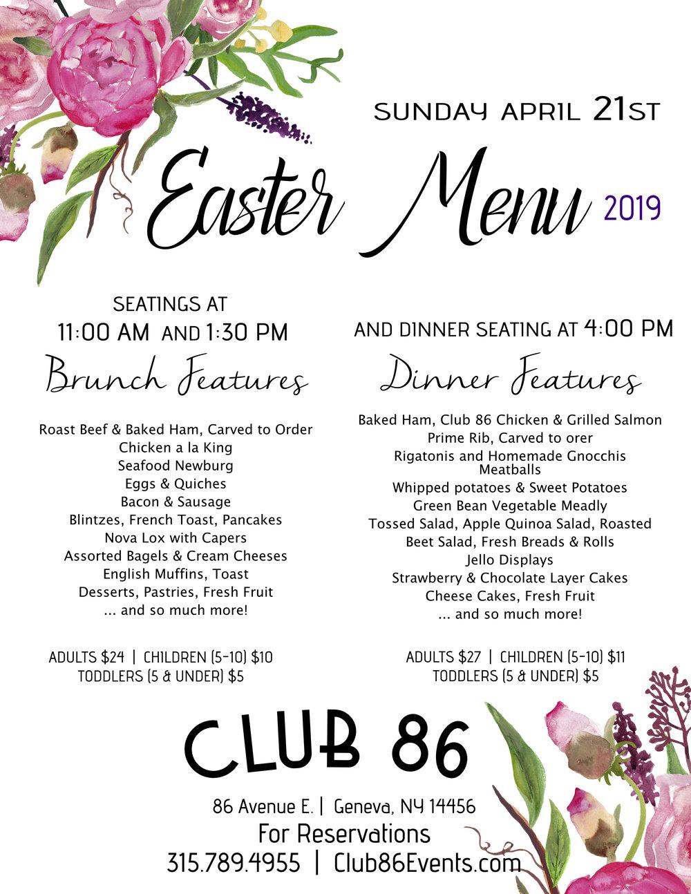 Easter Brunch - Sunday April 21st 2019 CLICK HERE FOR RESERVATIONS