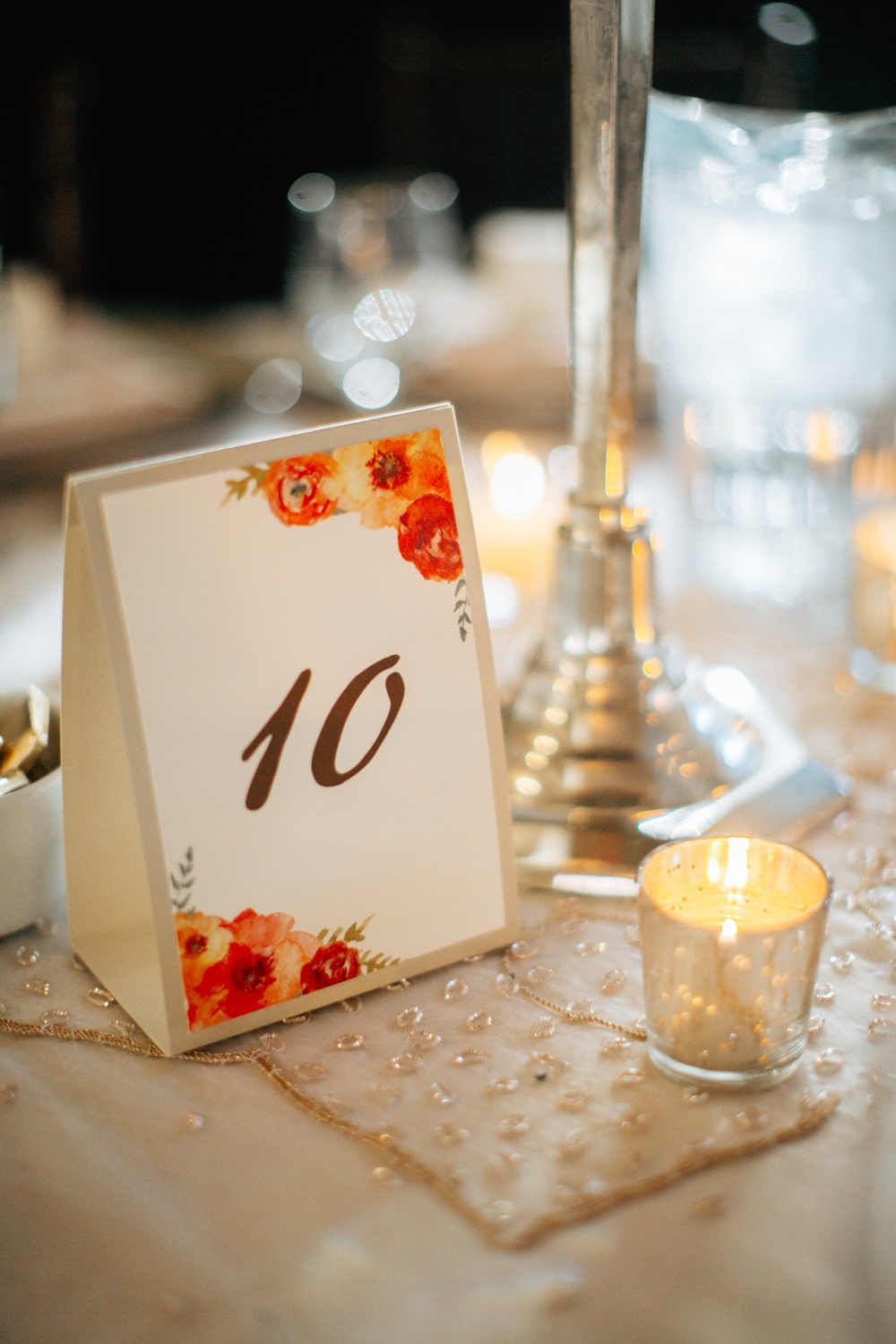 Watercolor Floral Table Number Tent