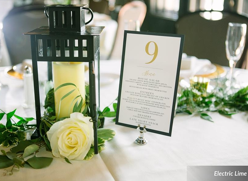 Lyndsey + Christopher Table Number and Menu
