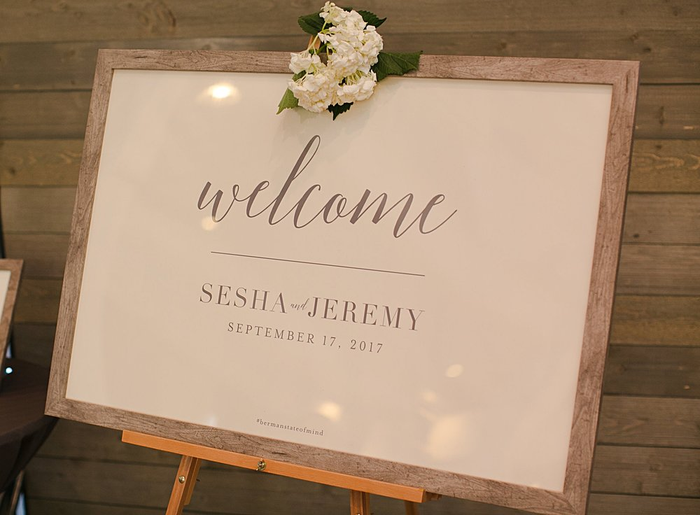 Sesha + Jeremy Welcome Sign