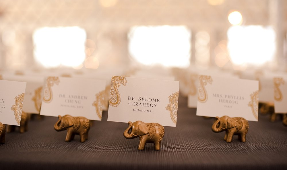 Gold Paisley Indian Wedding Place Cards