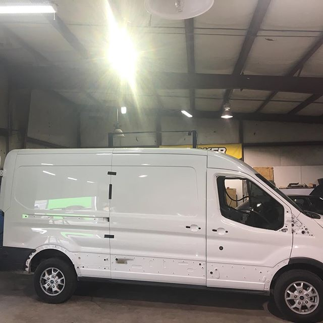 First big wrap of the new year, stripped and ready to go!  #wrap #vinyl #fordtransit