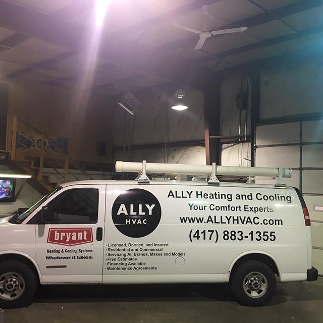 Labeled up a few rigs for Ally HVAC.  #wrap #417spots #fleet