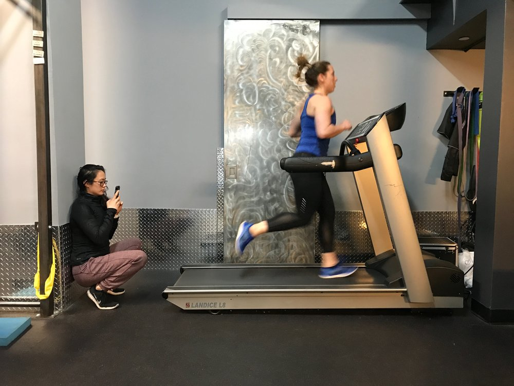 Dr. Rena Eleázar analyzes Dr. Britt Gunsser's running pattern to help her train for the Brooklyn Half Marathon.