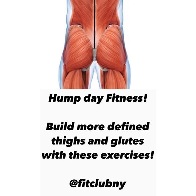 Happy Hump 🍑 day! _ No time! No space! We got you covered! Here are two exercises you can do to work the glutes and thighs no matter where you are!  _ Stay tuned for our weekly glute focused Hump day series.  _ #fitclubny #membersonly