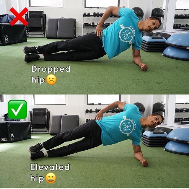 Fix your side plank!  _ Are you having trouble feeling your core when doing side planks?  _ This may be due to bad form. No worries, Fit Fam--this can be fixed! 🏚🏗🏠 _ Pic: @dr.kels ❌Top pic: Notice how his hip is dropped. This takes away from his core burn. ✅ bottom pic: His hip is in line with his back. This promotes increased core burn. _ Try this out and feel the difference! Was this helpful? If so, comment, like, and share. We appreciate the love! _ #fitclubny #membersonly