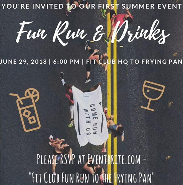 It's a been a great year! * Join us for our first Fit Club fun run. We will be running from Fit Club HQ to Frying Pan. Help us celebrate our 1 year anniversary. Sign up with the link in our bio. * When: 6pm 06/29/2018 * Start: 153 West 27th #1204 street NY, NY 10001. * Finish: 207 12th Avenue, Big Red Boat in Park, NY, NY 10001 * #membersonly #fitclubny