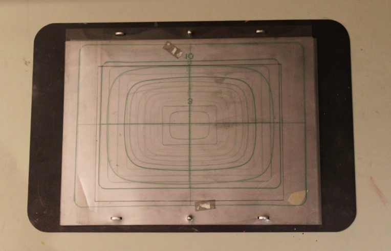 One of Eastcott's electromagnetic plates used for printing.