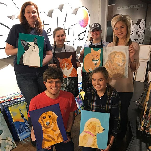 Pics from pet portrait in March! Don't miss our mini class on April 13th! (very limited spots available) register online at www.spiritedartao.com via our class calendar. #furbabylove #spiritedartao #petportrait