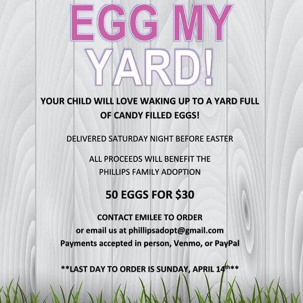 What a FUN & FAB idea! This precious family had a fundraiser at our studio a short while back and are still working to raise funds for their adoption. This is a fantastic opportunity to give to a great cause while also getting an unforgettable Easter morning with your kiddos. Spread the word! #spiritedartao #auburnalabama #opelika #auburnopelika #community