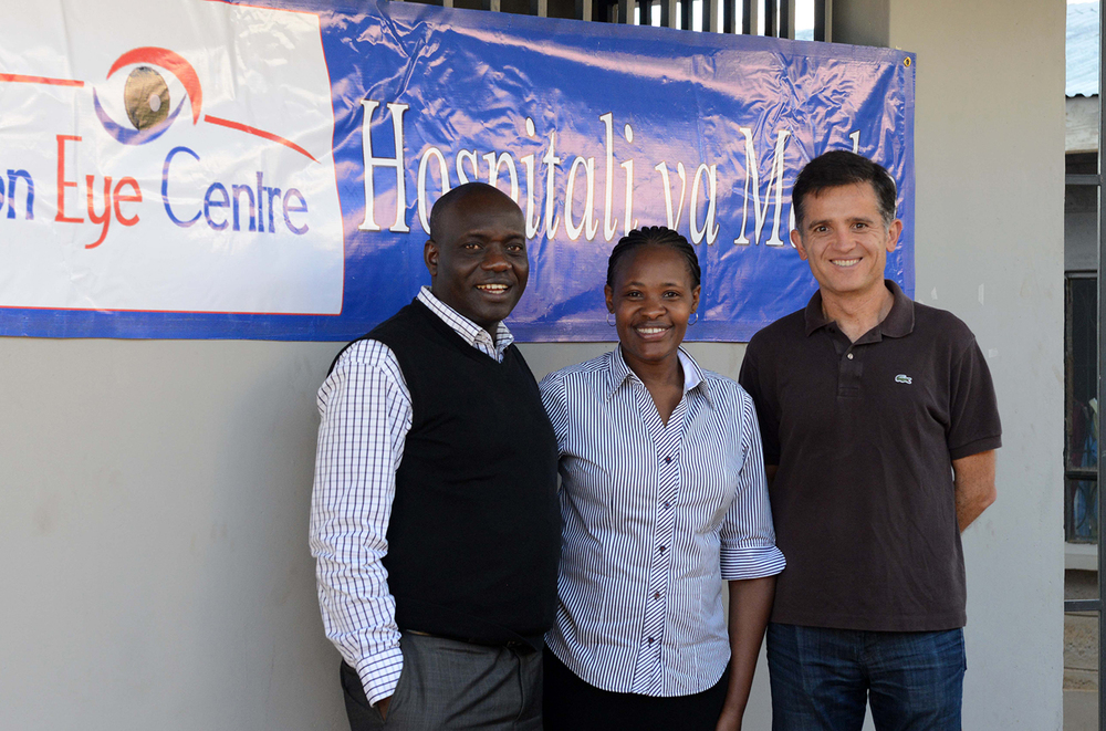 Dr. Tayeri with Dr. Daniel Kiage and his wife Jacqueline in Kisii.