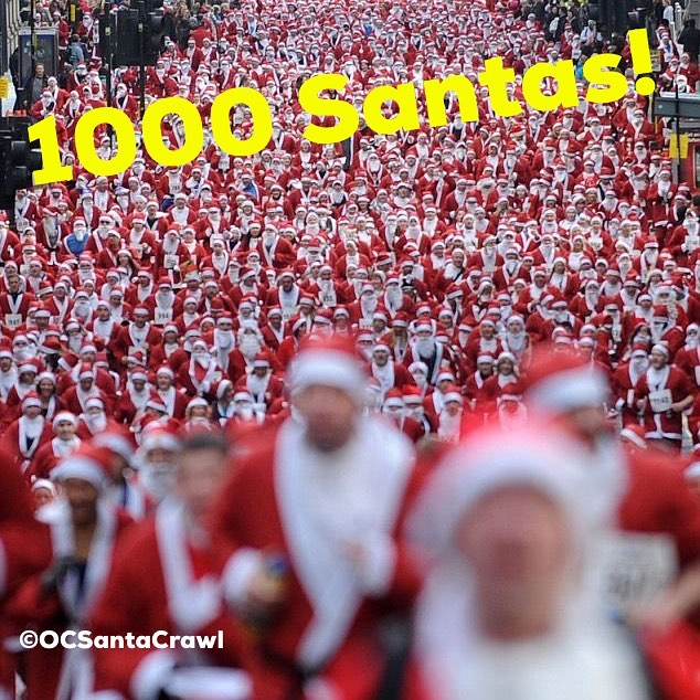 Holy Santa!! @ocsantacrawl is officially over 1000 Santas!!! OMG!! We are so excited for tomorrow! Let's keep going, why not!!! #ocsantacrawl #santacon #newportbeach #santacrawl #charitypubcrawl #beer #wine #cocktails #sexysantas #ladiesnight #costamesa #irvine #1000sofsantas #gobigorgohome ##ocslargestpubcrawl